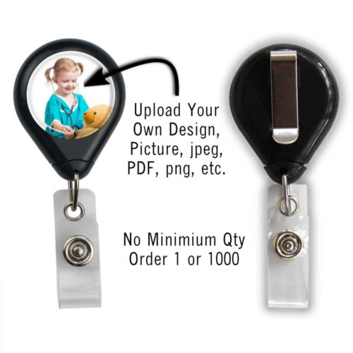 Customized Photo Badge ID Reel - Black - Slide Clip