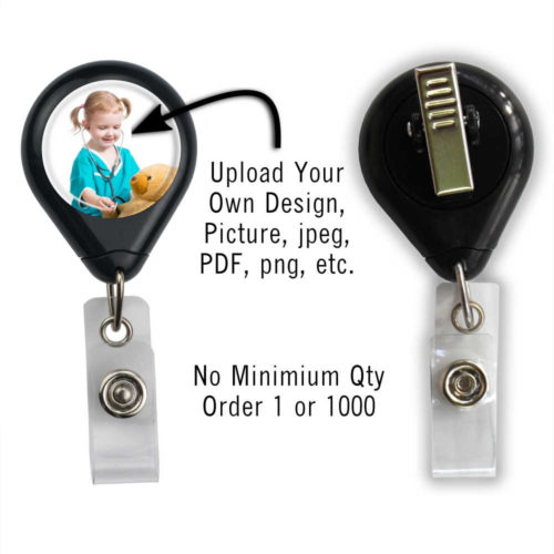 Customized Photo Badge ID Reel - Black - Swivel Spring Clip