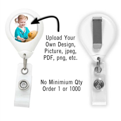 Customized Photo Badge ID Reel - White - Slide Clip
