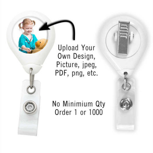 Customized Photo Badge ID Reel - White - Swivel Spring Clip
