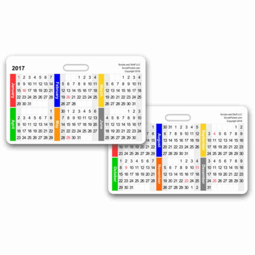 2017 Month by Month Calendar Horizontal Badge Card