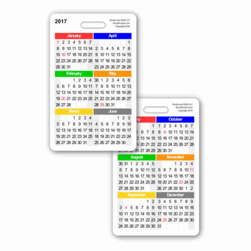 2017 Month by Month Calendar Vertical Badge Card
