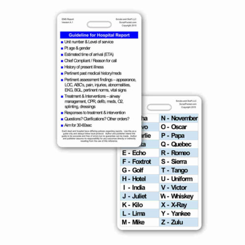 Hospital Report Guidelines w/ Phonetic Alphabet Vertical Badge Card