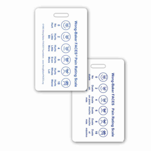Wong-Baker FACES® Pain Rating Scale Vertical w/ Spanish Rating Scale Badge Card